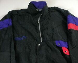 Puma-Windbreaker-Jacket-VTG-Mens-XL-2XL-Nylon-Vented-Full-Zip-Black-Purple-Red