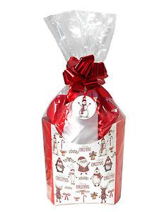 Details About Red Xmas Diy Gift Basket Hamper Kit Santa Snowman Gift Box Tissue Bow Bag