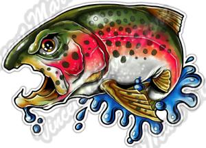 """Rainbow Trout Fish Fishing Fisherman Car Bumper Vinyl Sticker Decal 5/""""X3.5/"""""""
