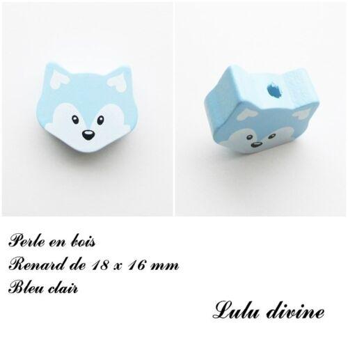 Perle en bois de 18 x 16 mm Bleu clair Perle plate petite Tête de renard
