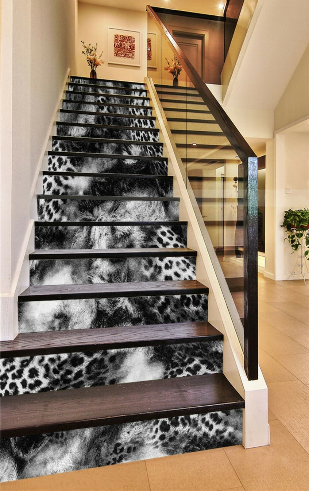 3D Leopard 4 Stair Risers Decoration Photo Mural Vinyl Decal Wallpaper UK
