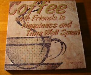 Coffee-Friends-Polka-Dot-Mug-Sign-Country-Primitive-Kitchen-Cafe-Home-Decor-NEW