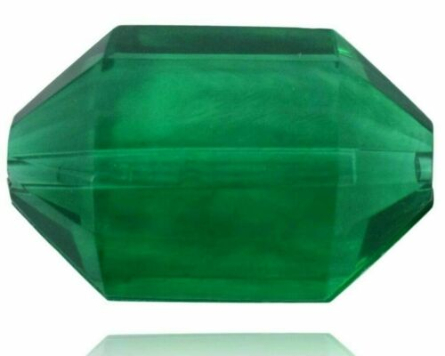 10 Green Transparent Hexagon Shape Bead Crafts 20 x 13 mm Vintage