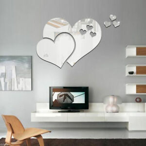 3d Hearts Mirror Wall Stickers Decal Diy Art Mural Removable Home