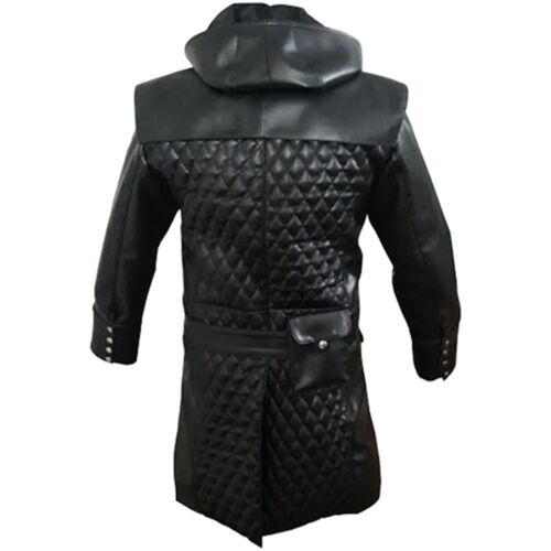 Mens Gothic Matrix Real Trench Coat Goth Black Leather 8BT8Fw