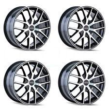 16x7 Touren TR60 4x108/5x108 42 Black Machined Black Ring Wheel Rim set(4)