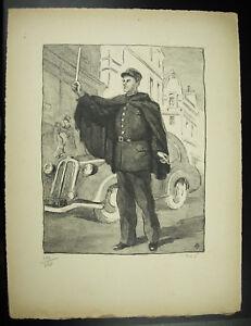 Marque De Tendance Pierre Claude Vaillant Agente De Ville Policier Gendarme Gravure Signée 1947 Saveur Pure Et Douce