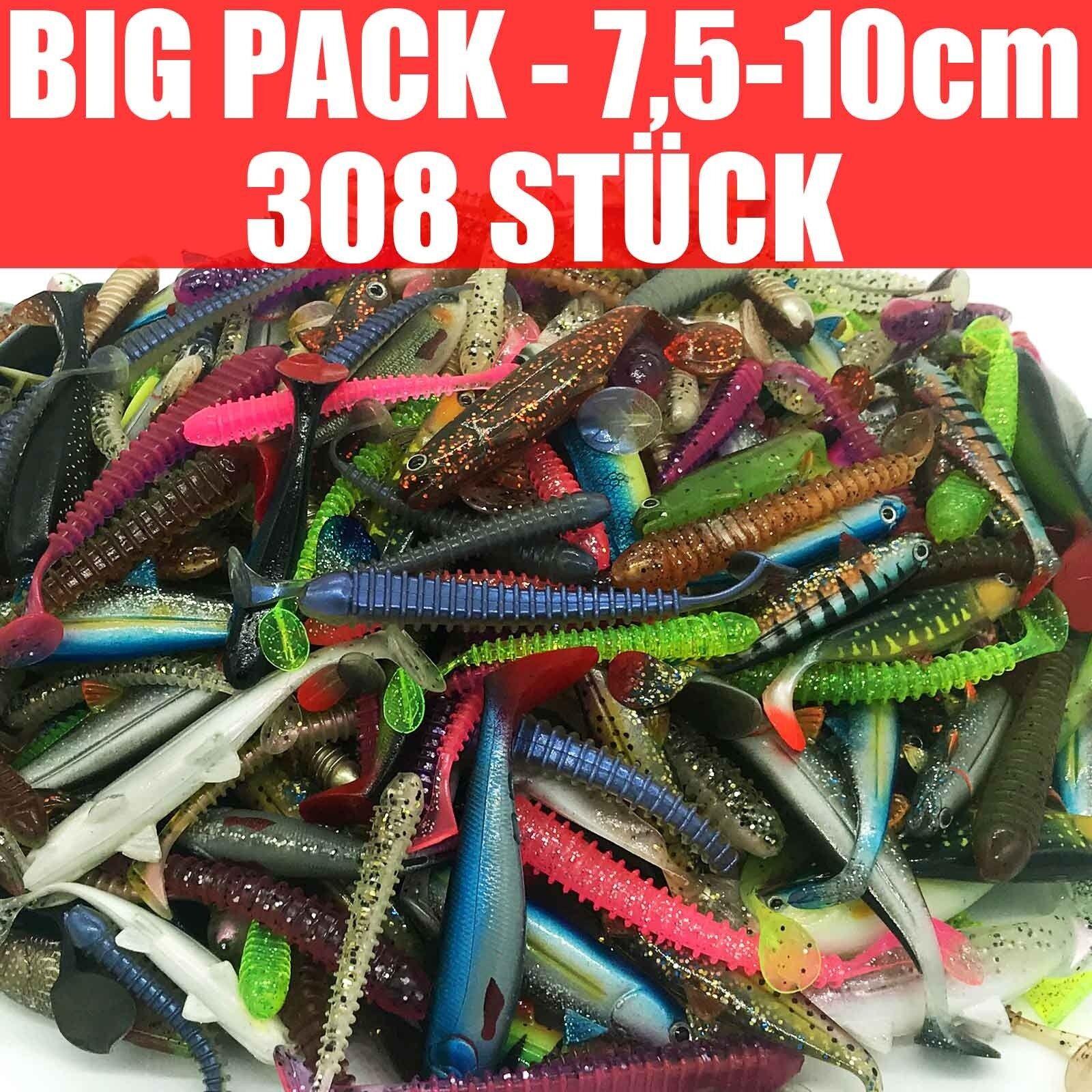 308 piezas de goma de pescado juego - bass y trucha pesca 7.5 a 10, 0 cm Angel set