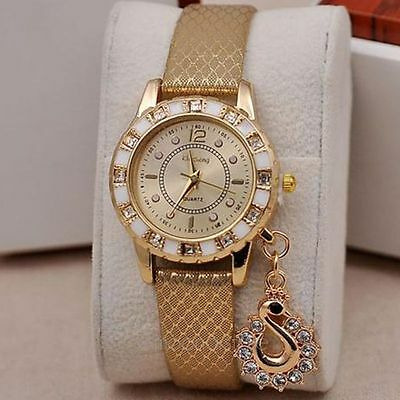 Women Handmade Crystal Charm Pendant PU Leather Wrap Bracelet Quartz Wrist Watch