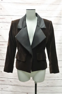 Yves-Saint-Laurent-Vintage-Jacket-Brown-Velvet-Size-34-Black-Satin-Lapel-Blazer