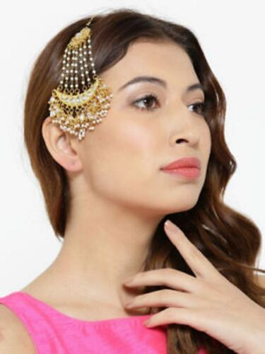 Ethnic Indian Bollywood Gold Pearl Front passa Maang Tikka Bridal Jewelry