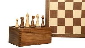 Chess Pieces & Walnut Maple Wooden chess Board With Notation and Storage Box