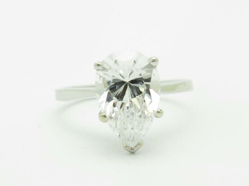 14k White Gold & Cubic Zirconia Engagement Pear Shape Design Band Ring Gift