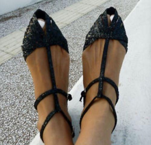 ZARA black glitter sparkle pointy beach sandals ankle straps peep toe 7.5 EU 38