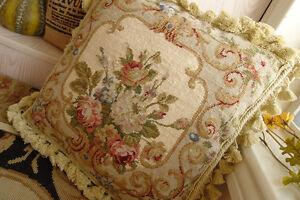 14-034-Chic-Shabby-Beige-Floral-Handmade-Decorative-Needlepoint-Pillow-Cushion