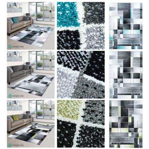 /% SALE Tapis Moda Flachflor Design à Carreaux Moderne Salon Bleu Gris Vert