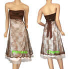 NEW Formal Evening Dress Brown Beige Size 8 10 12 14