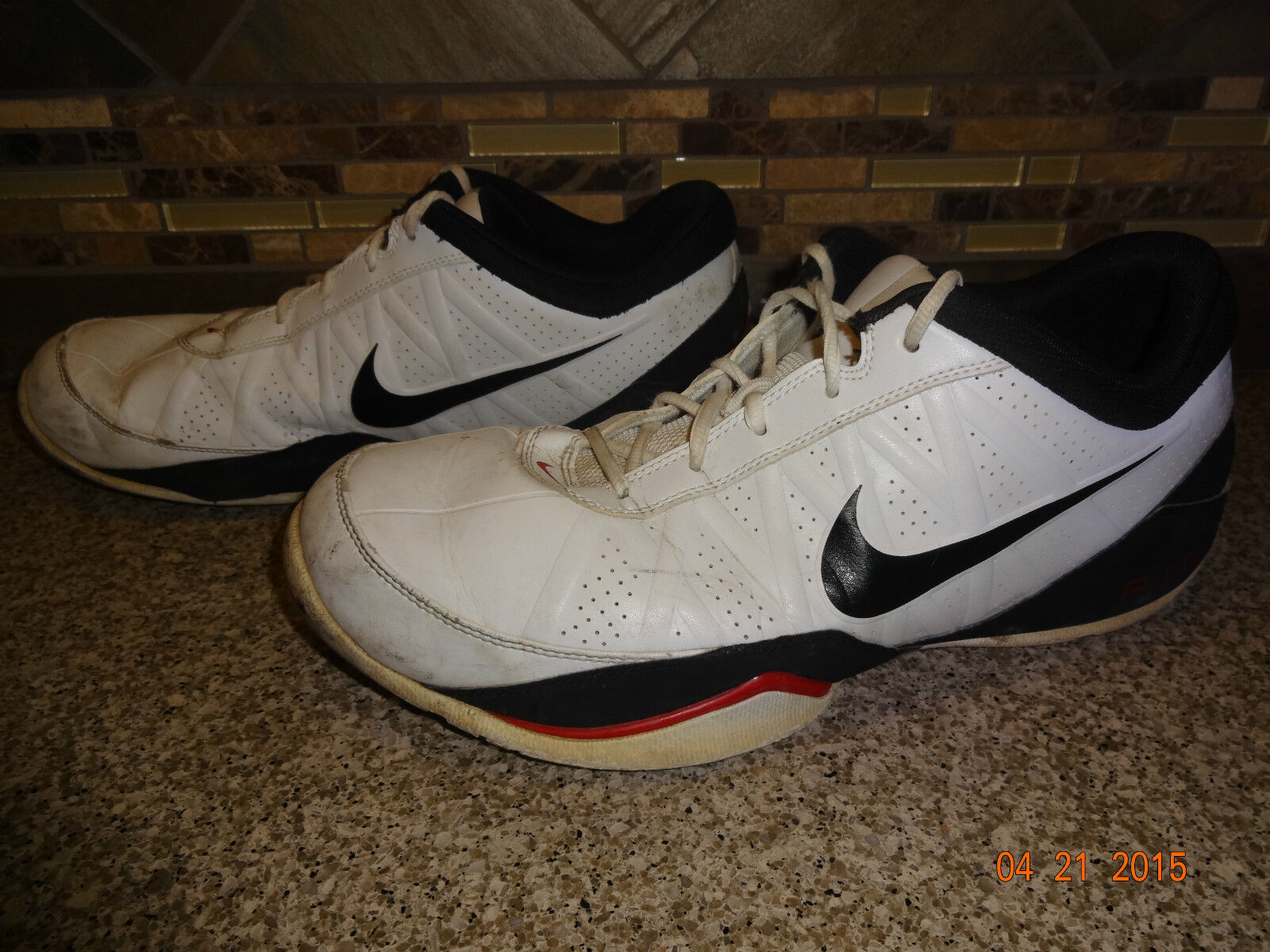 e8d24100a807e ... Mens NIKE Air Ring Ring Ring Leader Low Sz 13 White Black Athletic  Shoes bd0e88 ...