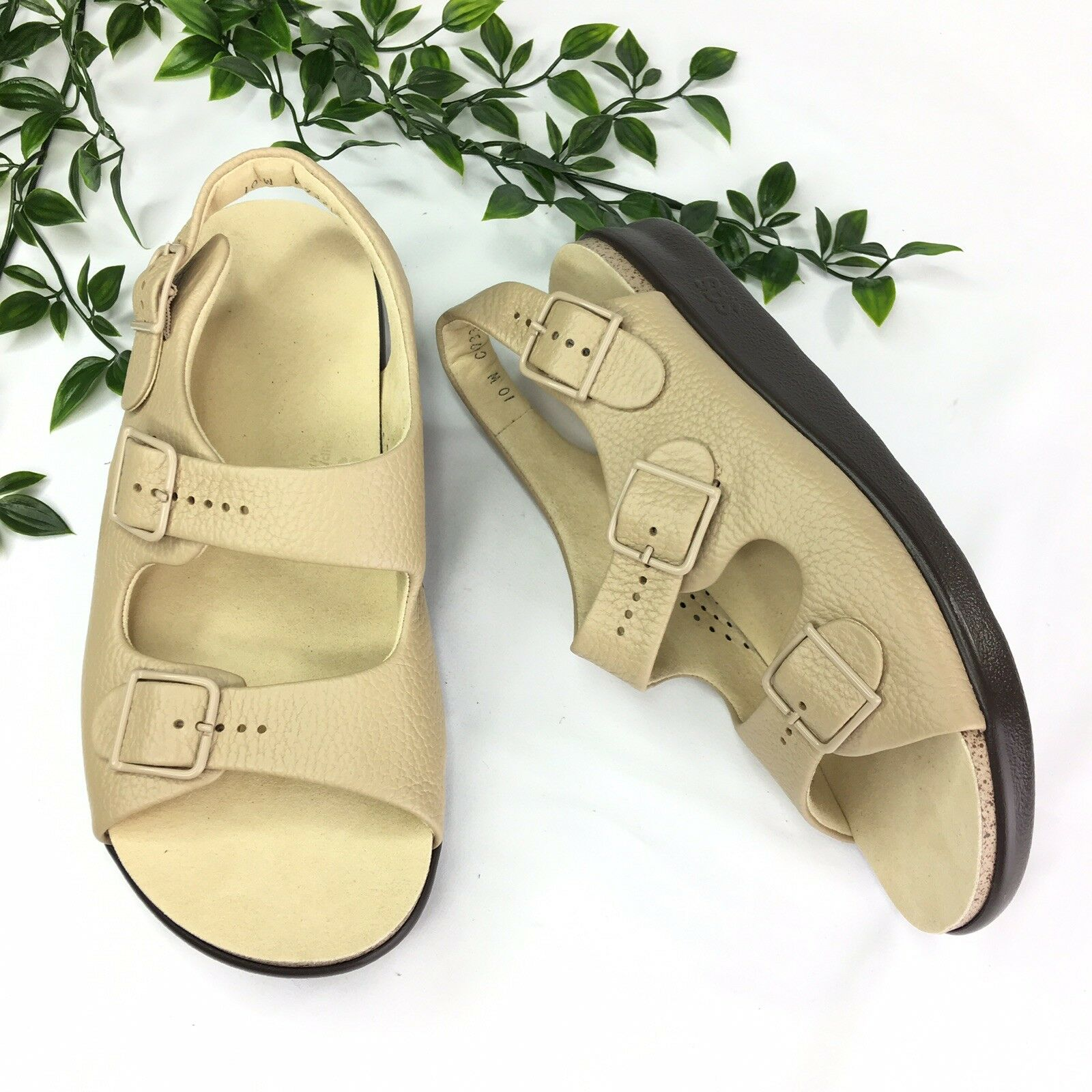 SAS Womens 10 W Relaxed Beige Leather Sandals Adjustable 2 Strap Slingback Wide