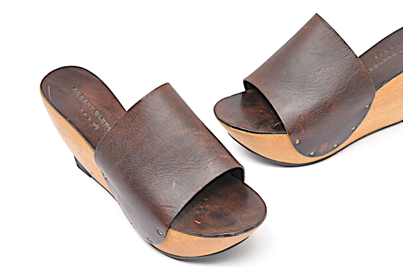ROBERT CLERGERIE  Paris Sturdy Leder & Wood Open Toe Sz Slide-On Wedge Sz Toe 5.5 69f2bd