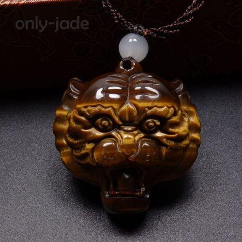 100/% naturelle véritable Oeil de Tigre Jade Gems Pendentif porte-bonheur-Tiger Head A-07