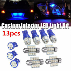13x-Bombillas-led-coche-cupula-Interior-T10-amp-31mm-mapa-Matricula-Luz-Lampara-Kit-Azul