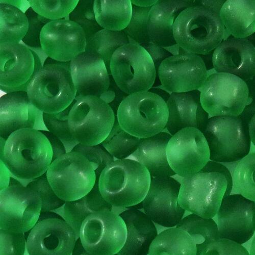 6//0 Perles de Rocailles en verre Transparent Givré 4mm Vert 20g