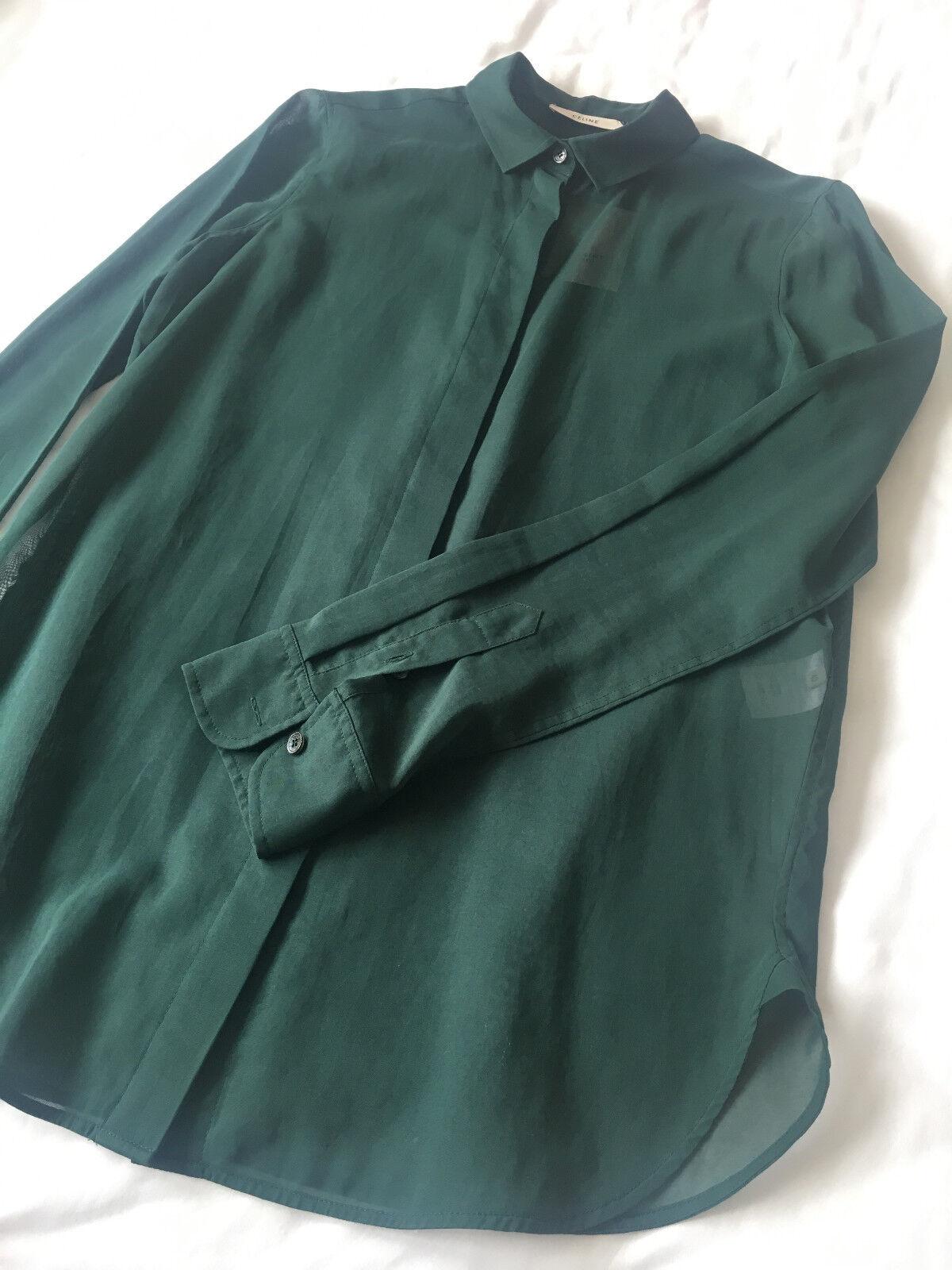 CELINE Forest Grün 100% Cotton Sheer Shirt 40 UK10