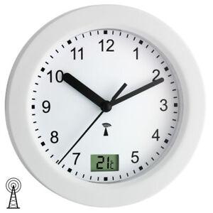 NEU TFA Wanduhr Funkuhr Funk Badezimmer Uhr Quarz weiß rund ...