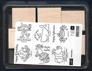 Details about NEW KIDOODLES ELF Monkey Spider Rhino 6 pc SET Stampin' Up!  wood Rubber Stamp