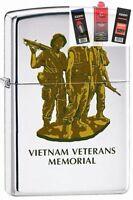 Zippo 250 Vietnam Vets Memorial Lighter + Fuel Flint & Wick Gift Set