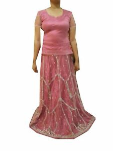 Om Vintage Indian Wedding Net Hand Beaded Zardozi Pink Lehenga,blouse Lp45 Embroidery