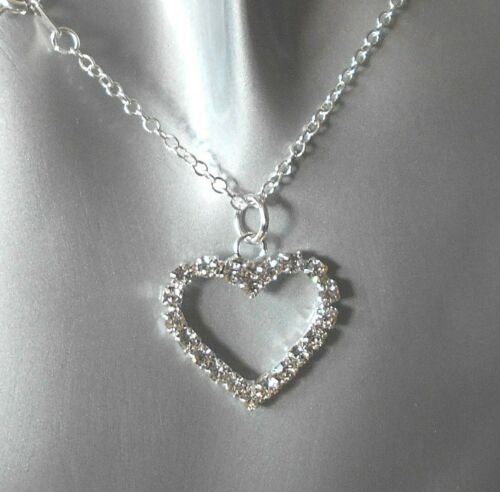 "Diamante Hueco Corazón Collar en 18/"" Cadena de Plata Plateado"