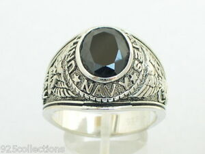 12X10mm-925-Sterling-Silver-Black-Stone-US-Military-Navy-Men-039-s-Ring-Size-13