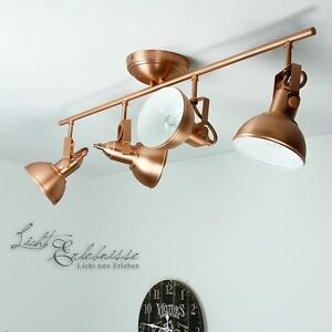 vintage spotlight 4 flmg ceiling light rotatable in copper industrial lamps loft ebay. Black Bedroom Furniture Sets. Home Design Ideas