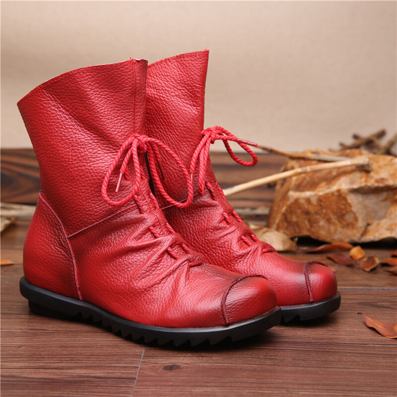 Women Leather Boots Flat Booties Soft Cowhide Women's shoes Front Zip Ankle Boot