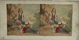 Scena-Nel-Studio-Italia-Foto-Stereo-Colorati-Vintage-Albumina-c1860