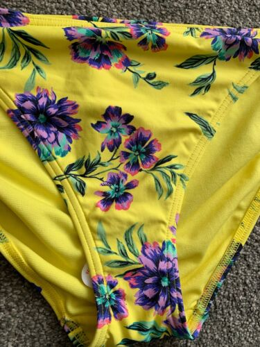 M/&S Hipster pezzo di sotto del bikini taglia 14 Giallo Floreale Mix laccio laterale NUOVO CON ETICHETTA