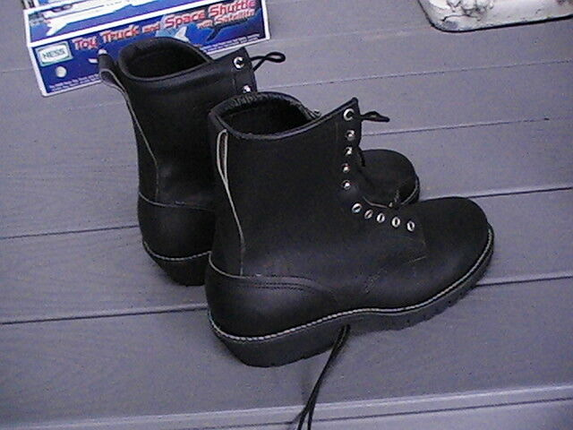 Vibram Black Leather Steel Toe Combat Boot Work Motorcycle Hunting etc new sizes