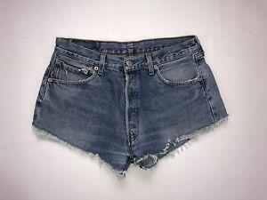 Levi-039-s-501-Denim-Hotpants-Shorts-w34-High-Waist-Blau-Super-Zustand