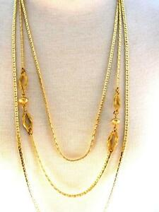 3-Strand-Gold-tone-1960s-Long-Necklace-Vintage-Jewelry