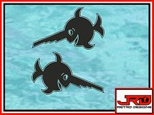 2x Laughing Saw Fish Vinyl Stickers in Black
