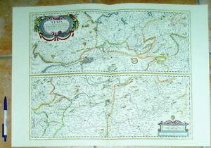 Elbe-Elbverlauf-alte-Landkarte-Reproduktion-60-x-43-cm-Janssonius-1657-Schlesien