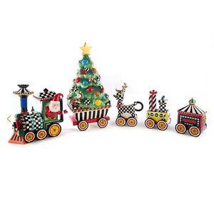MacKenzie-Childs Christmas Train 5 Piece Ceramic Set - NIB