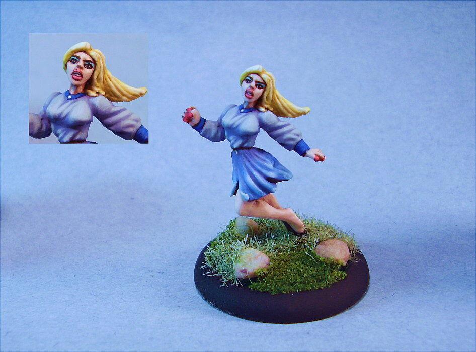 ganancia cero Pintado En Miniatura Cute mujer víctima que huyen huyen huyen de  Esperando por ti