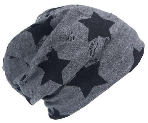 Cool 4 Vintage Winter Star Fleece Beanie DISTRESSED USED LOOK ANTHRACITE vwb05