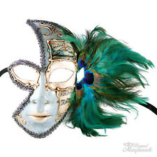 Peacock Feather Full Half-Eye Mard Gras Masquerade Mask for Women M7037 [White]