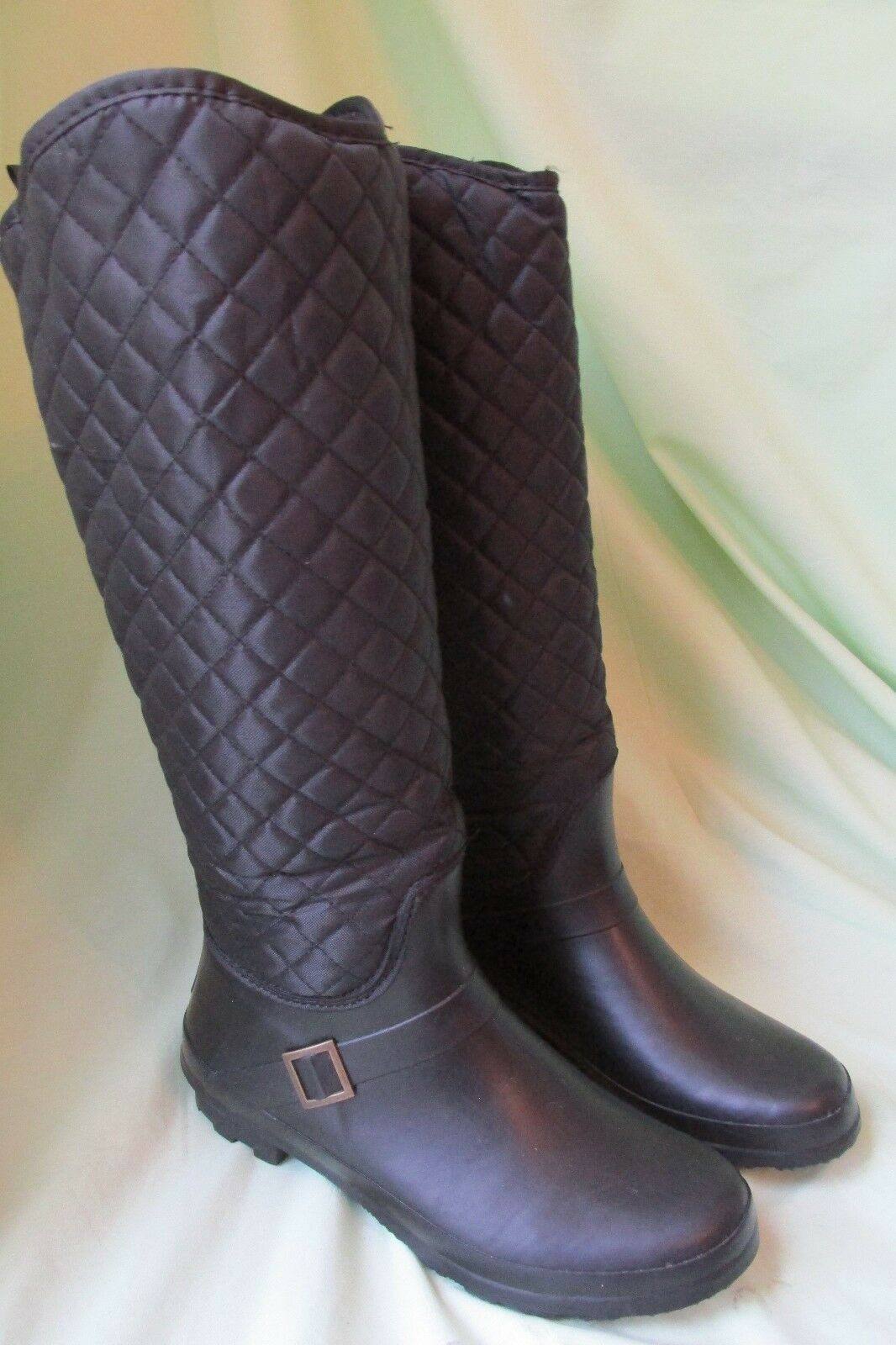Women's Capelli New York Jet Black Half Quilted Sporty Rubber Rain Boots Size 10