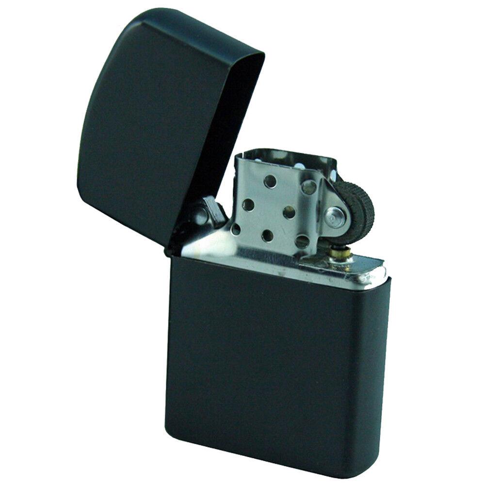 s l1600 - MFH kleines Benzin Sturmfeuerzeug schwarzes Metallgehäuse Größe 5,5 x 4 x 1,3 cm