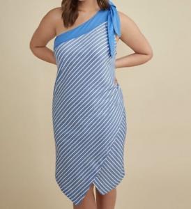 Lane Bryant Glamour X bluee White Striped One Shoulder Asymmetrical Dress Sz 20
